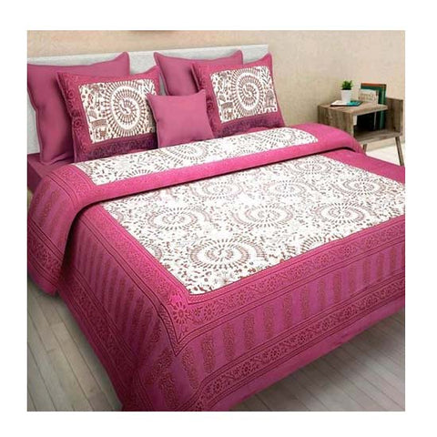 Image of Jaipur Cotton Double King Size Floral Bedsheet With Pillow Covers