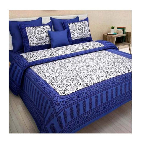 Jaipur Cotton Double King Size Floral Bedsheet With Pillow Covers