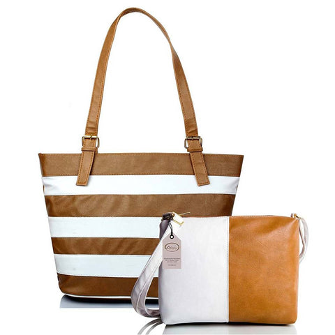 Brown Striped  Handbag with Sling Bag