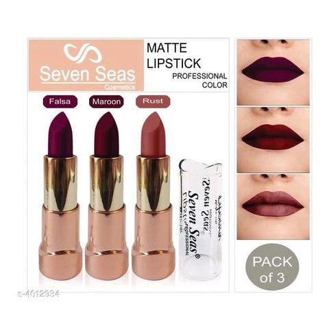 Seven Seas Professional matte Lipsticks Combo Set Of 3 (5 gm)