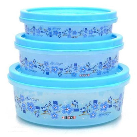 Image of Floral Design Plastic 3 Pieces Food Saver Container Set (4000ml,2400ml,1300ml)