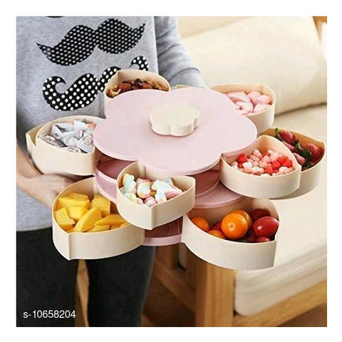 5 Compartments Flower Candy Box Serving Rotating Tray