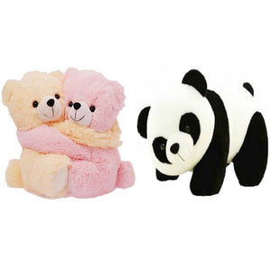 Gift Basket Stuffed Soft Toy Combo Of Huggable Couple With Panda