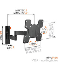 Load image into Gallery viewer, W53060 Full-Motion TV Wall Mount (black)