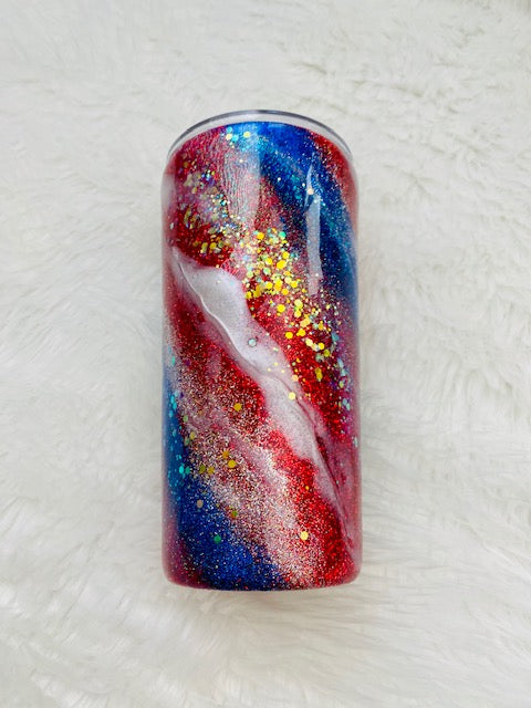 Red, White & Blue  Glitter Tumbler | 4th of July | Patriotic | 20oz skinny tumbler | Drinking tumbler