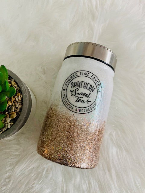 Sweet Tea/17 oz. Glitter Mason Jar Tumbler / Stainless Steel