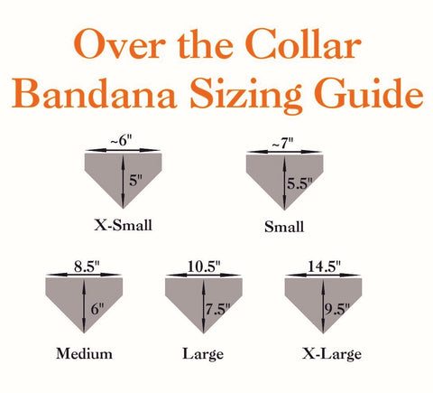 5 triangle shapes with measurements around them showing the sizes of bandanas for pets