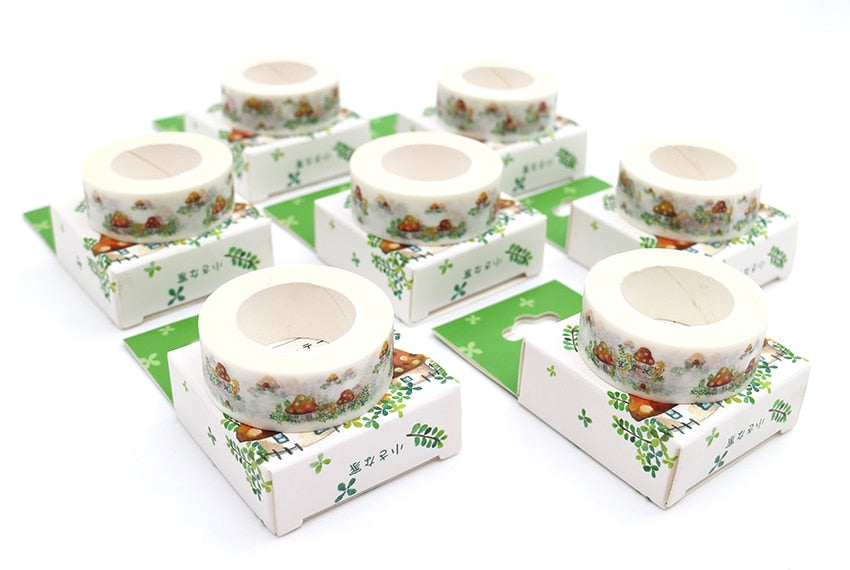 Boxed Kawaii Mushroom Washi Tape. 10m x 15mm.