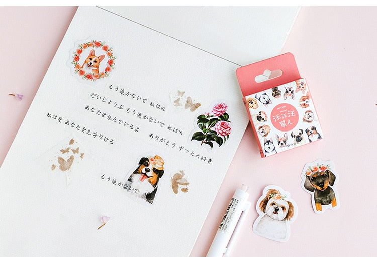 46pcs Cute Animal Kawaii Dog Stickers for Scrapbooks and Journals.