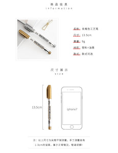 2pcs Set of Gold and Silver Metallic Paint Marker Pens for Christmas and Wedding Invitations