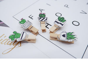 10pcs Pack of Cute Cactus Wooden Photo Clips for DIY Decoration