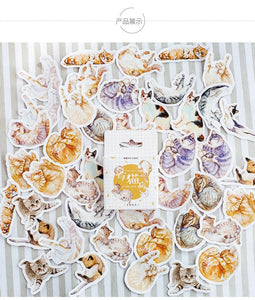 Japanese Cat Stickers. Mini Cute Cat Stickers for Journals and Scrapbooks.