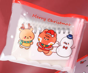Cute Christmas Character Kawaii PVC Wipeable Pencil Case/ Mask Case.