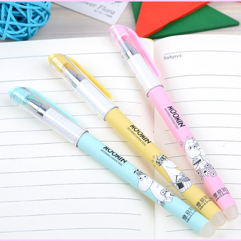 3pcs Cute Cartoon Character Kawaii Erasable Blue Ink Gel Pen Set