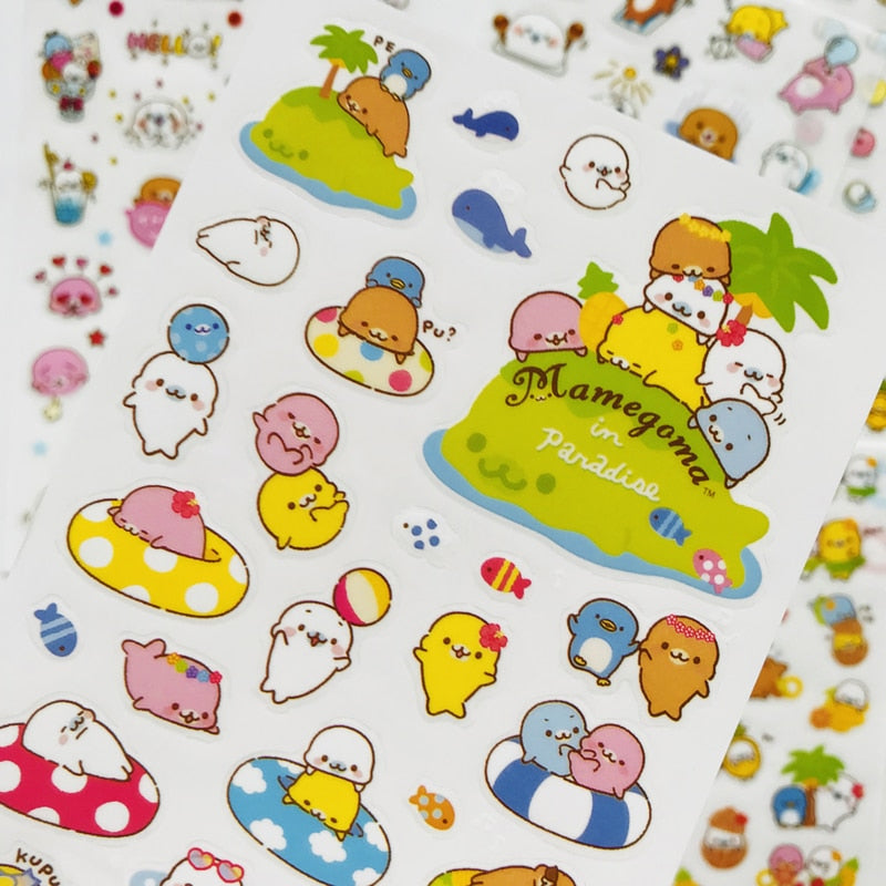 6 Sheets Kawaii Cute Sea Lion Otter Transparent Korean Stickers