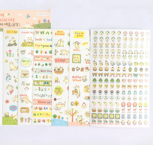 6 Sheets PVC Transparent Korean Kawaii Cat Stickers.