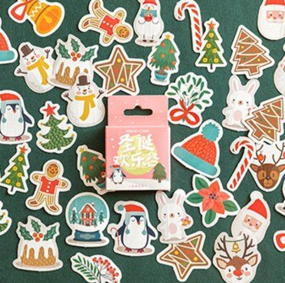 Mini Box of Christmas Greeting Stickers for Journals, Scrapbooks and Crafts.