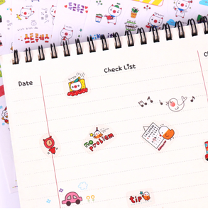 6pcs Kawaii Pig Animal Transparent Stationery Stickers for Journals and Scrapbooks.