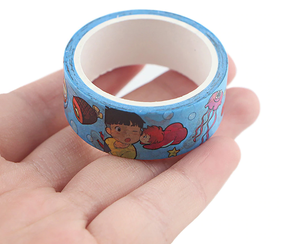 Japanese Anime Cartoon Fish Girl Blue Washi Tape. Kawaii Stationery.
