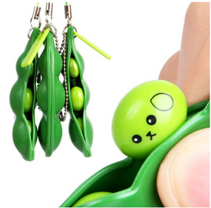Kawaii Cute Squishy Peas In A Pod Bean Toy Keyring Keychain. Fidget Toy.