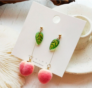 Cute Korean Fruit Peach 3D Dangle Drop Summer Novelty Stud Earrings Jewellery.