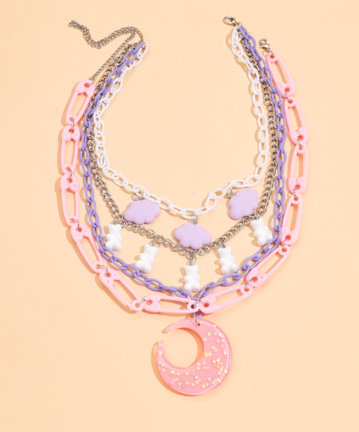 Cute Pastel Kawaii Korean Bear Moon Cloud Neck Chain Necklace Set.