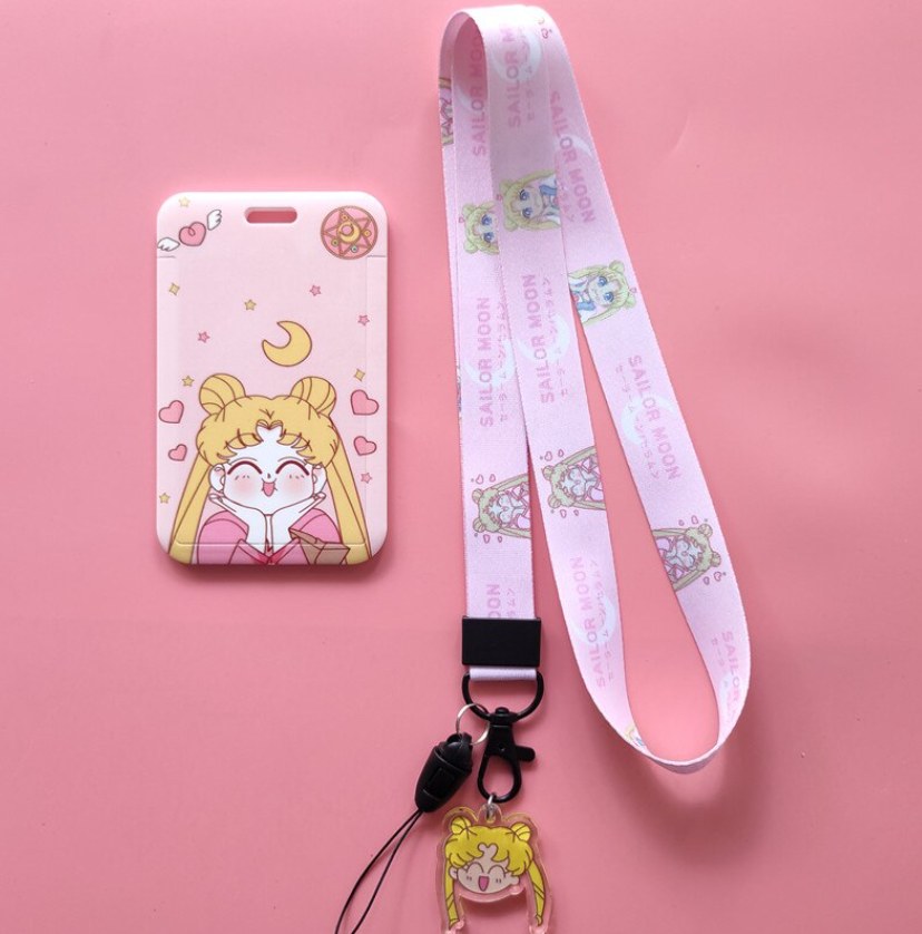 Japan Anime Cute Sailor Moon Usagi Card ID Holder Lanyard Key Chain Pendant Gifts