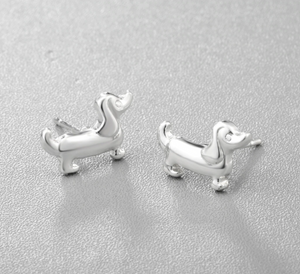 Cute Small Dachshund Sausage Dog Silver Colour Stud Earrings.