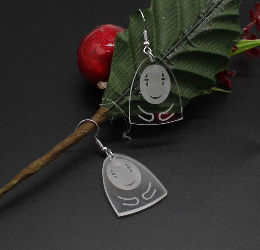 Korean Style Cute Anime Transparent Acrylic No Face Pendant Earrings Jewellery Gifts