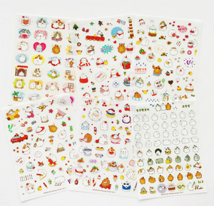 6 Sheets Version 3 Transparent Chubby Bunny Rabbit Planner Kids Stickers for Journals and Scrapbooks