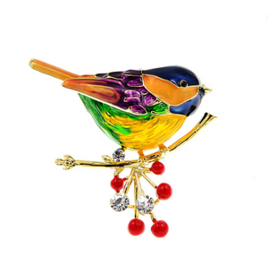 Vivid Colourful Winter Bird Brooch Gifts for Her