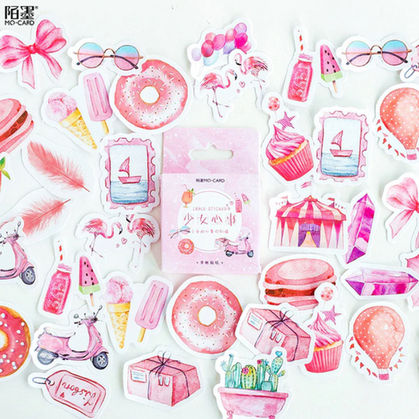 45pcs Mini Box of Kawaii Pink Summer Stickers for Planners and Journals