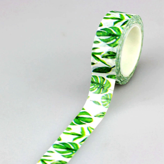 1pcs Roll of Tropical Leaves Cheese Plant Decorative Washi Tape