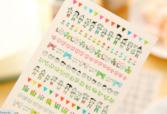 6 Large Sheets of Cute Korean Transparent Planner Stickers