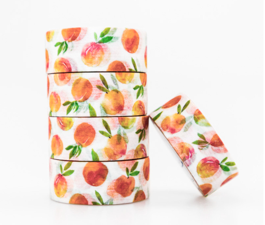 1pcs Roll Small Fresh Peach Summer Fruit Washi Decorative Craft Tape