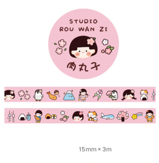 1pcs Cute Kawaii Cartoon Character Washi Tape.