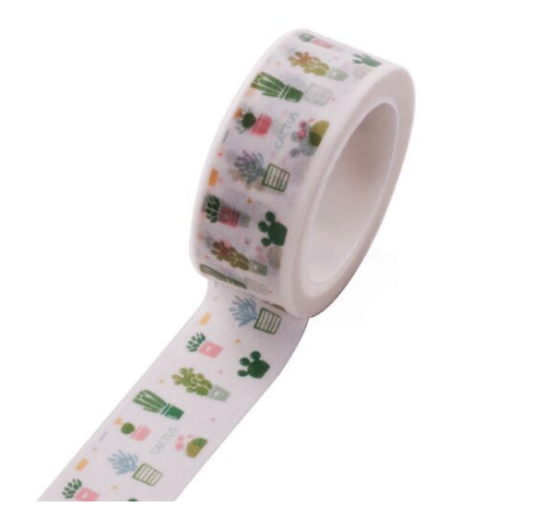 Roll of Creative Happy Cactus Plant Decorative Washi Tape 15mm x 5m