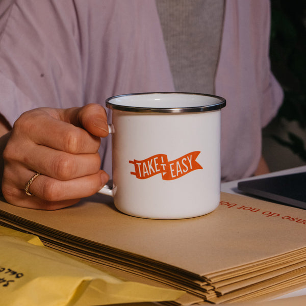 Take It Easy Enamel Mug