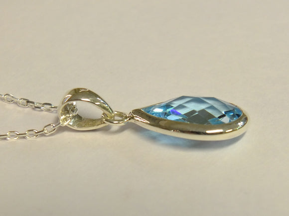 Silver Topaz Teardrop Pendant & Necklace