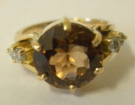 Smokey Quartz & Diamond 18ct Gold Ring