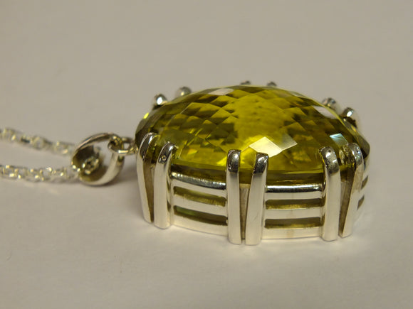Citrine & Silver Pendant with Necklace