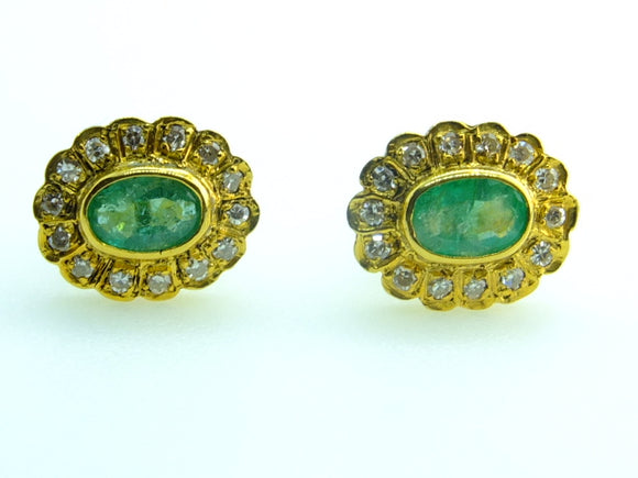 1.82  CT Colombian Emerald and Diamond 18 CT gold stud earrings