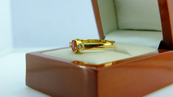 Ruby and Diamond 14ct Yellow Gold Ring