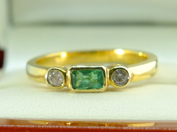 Emerald and Diamond 9ct Yellow Gold Ring