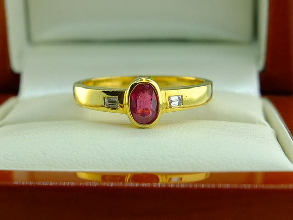 Ruby and Diamond Ring 9ct Yellow Gold