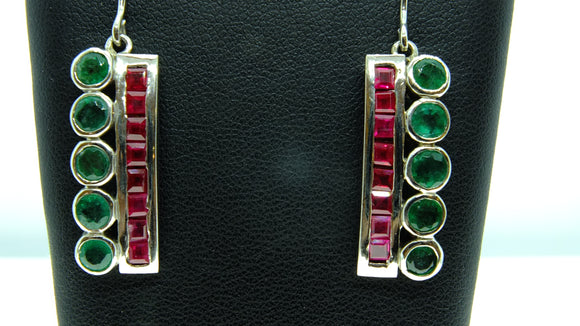 9ct White Gold Set Emerald and Ruby Earrings