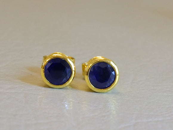 18ct Gold and Blue Sapphire Round Cut Earrings