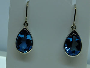 Teardrop Topaz and White Gold Earrings