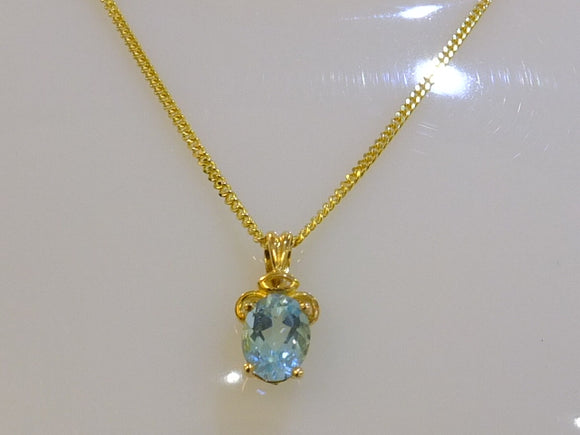 Aquamarine & 9ct Gold Necklace