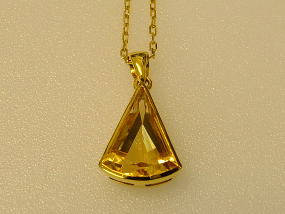 18ct Gold and Citrine Long Tri-Cut Necklace